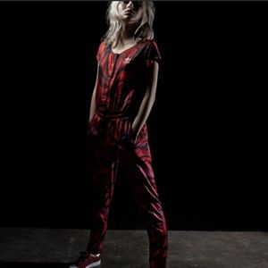 ADIDAS Red Clash Roses Pattern Women Jumpsuit